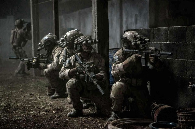 Soldiers about to breach